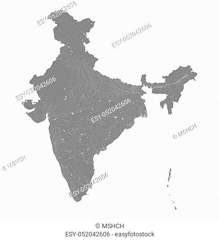 Map of India with rivers and lakes. Especially looks nice at high magnification. Not for navigational use