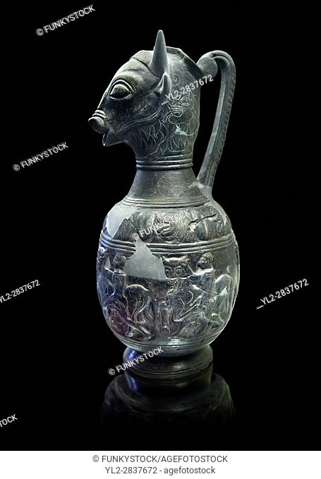 Side view of the 6th century BC Etruscan Bull headed bucherro style oinochoe, or wine jug, made in Chuisi and excavated from the necropolis de Fonte Rotella