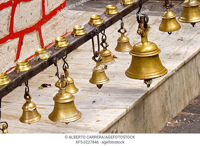 Prayer Bells, Tal Barahi Temple, Goddess Durga, Phewa Lake, Fewa Lake, Pokhara, Nepal, Asia