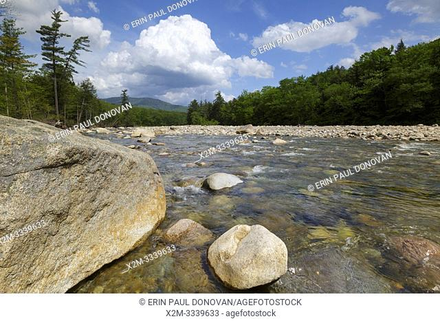 East Branch of the Pemigewasset River in Lincoln, New Hampshire on a cloudy spring day. This river begins deep in the Pemigewasset Wilderness in the area known...