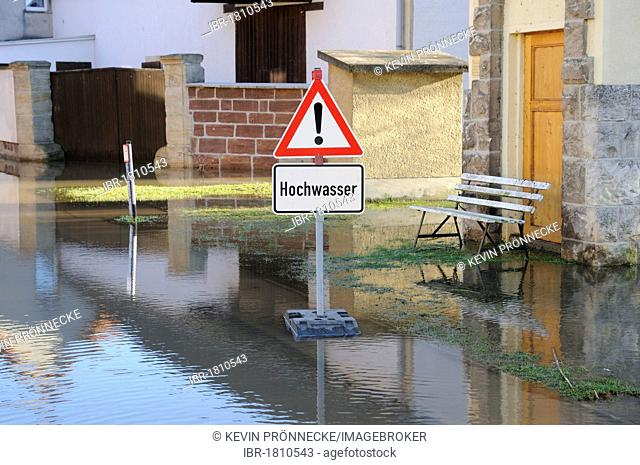 Flooded street, high waters of the Unstrut river, Saxony-Anhalt, Germany, Europe