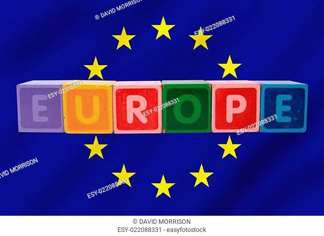 europe and flag in toy letters