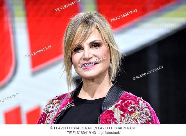 Simona Ventura during the photocall of tv show The voice of Italy, Milan, ITALY-18-04-2019