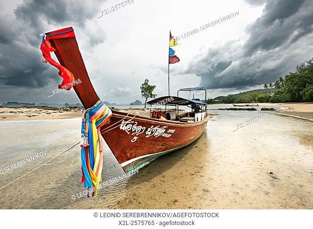 Longtail boat at Klong Muang Beach. Krabi Province, Thailand
