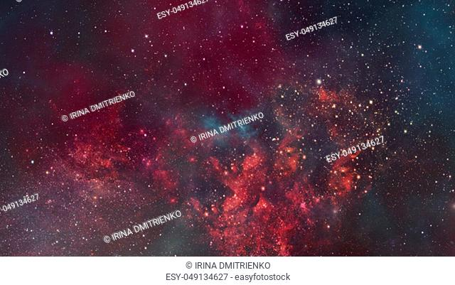 Nebula and galaxies in dark space. Elements of this image furnished by NASA