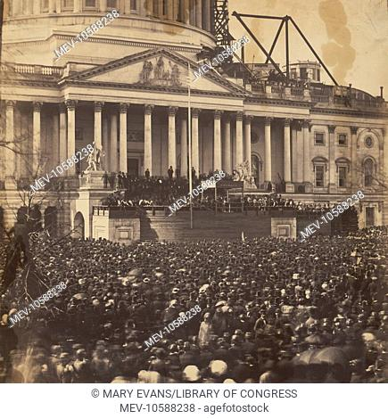Inauguration of Mr. Lincoln, March 4, 1861. Photograph shows participants and crowd at the first inauguration of President Abraham Lincoln, at the US Capitol