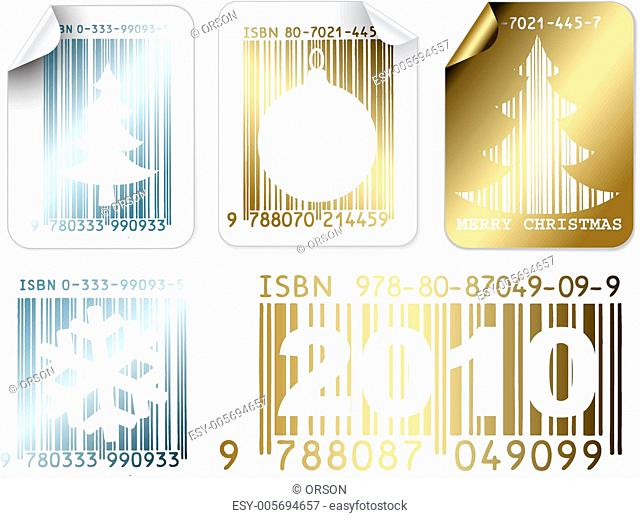 Set of business Christmas silver and golden labels