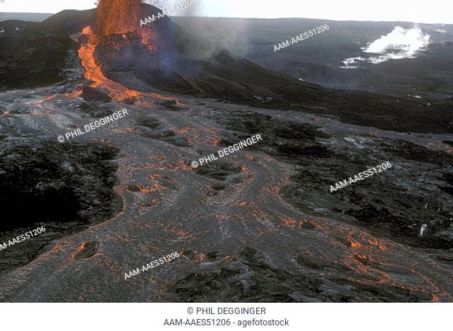 Kilauea Volcano Erupting Lava Flow  4/19/84 Hawaii