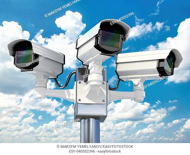 CCTV security camera on cloud sky background. 3d