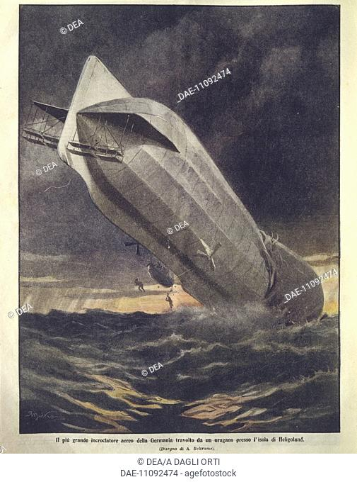 History, 20th century - Biggest German cruiser swept away by hurricane near Heligoland Island. Cover illustration from La Domenica del Corriere
