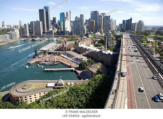 View from Sydney Harbour Bridge towards the Ferry Harbour and downtown Sydney, New South Wales, Australia
