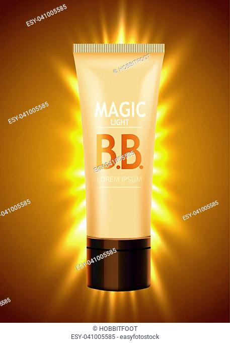 Luxury skin toner, bb cream or peeling scrub contained in tube, light background. Cosmetic and organic makeup concept. Vector illustration