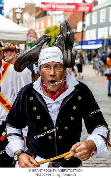 A Morris Dancer From Sompting Village Morris Performs At The Lewes Folk Festival 2016, Lewes, Sussex, UK