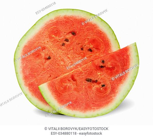 Two different slices of ripe watermelon standing next isolated on white background