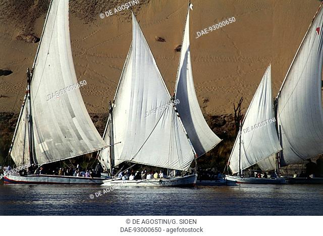 Feluccas used for tourist trips on the Nile river, Aswan, Egypt