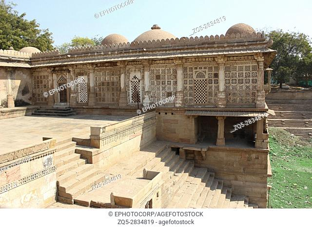 Courtyard towards Sarkhej lake at Sarkhej Roza, Makarba, Ahmedabad in Gujarat India