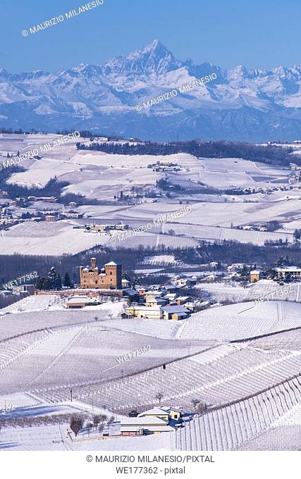 Grinzane Cavour, Piedmont, Italy, Hilly landscape on the vineyards of the Langhe in the Unesco territory of Italy are visible the Castle and the mountains of...