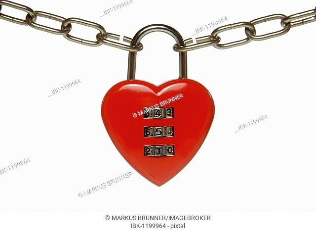 Heart lock with numeric code, symbolic image for finding a partner, knowing the correct code