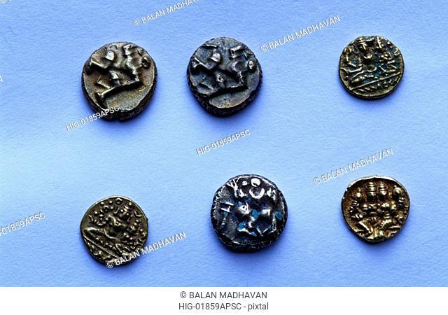 LEAD COINS OF SATAVAHANAS STATE MUSEUM ,HYDERABAD, ANDHRA PRADESH, INDIA