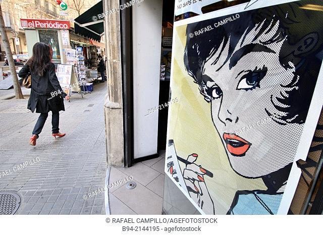 Advertising on street, Barcelona, Catalonia, Spain