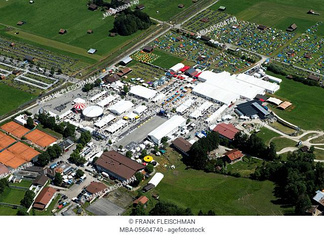 BMW motorcycle Days, Garmisch-Partenkirchen, motorcycle festival, Hausberg valley station, aerial picture, Germany, Bavaria, Upper Bavaria, Bavarian alps