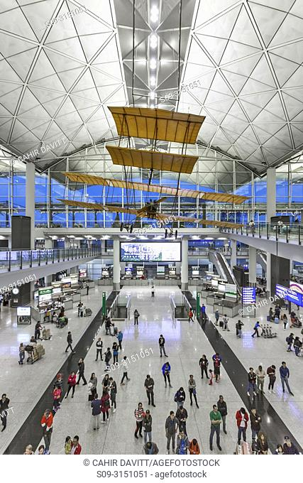 The interior of Terminal 1 Hong Kong International Airport ( Chek Lap Kok), Designed by the Architect Norman Foster, with a replica of the 1903 Wright Brothers...