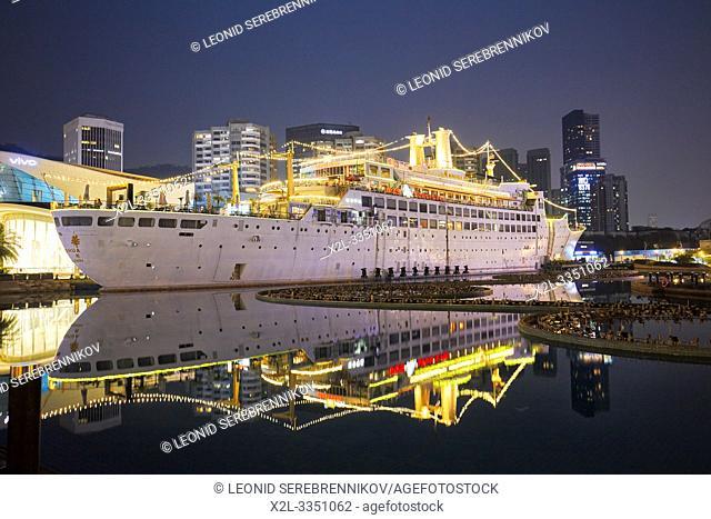 Minghua (formerly MV Ancerville), 1962 French cruise ship, landlocked at Sea World entertainment complex. Shekou, Shenzhen, Guangdong Province, China