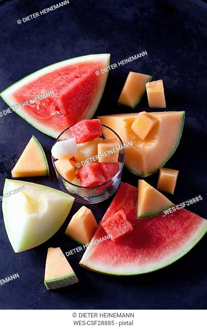 Various pieces of melons