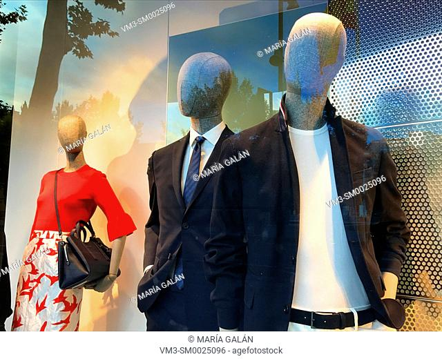 Mannequins in a shop window. Madrid, Spain