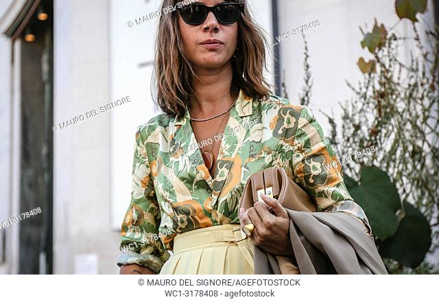 PARIS, France- September 26 2018: Natasha Goldenberg on the street during the Paris Fashion Week