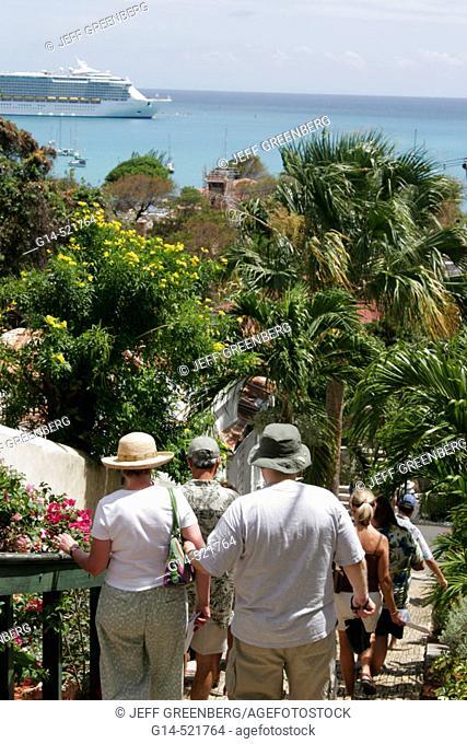 99 Steps, tour group. Blackbeard's Hill. Charlotte Amalie. St. Thomas. US Virgin Islands