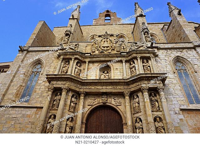 Santa Maria la Major Church main façade. Montblanc, Tarragona, Catalonia, Spain, Europe