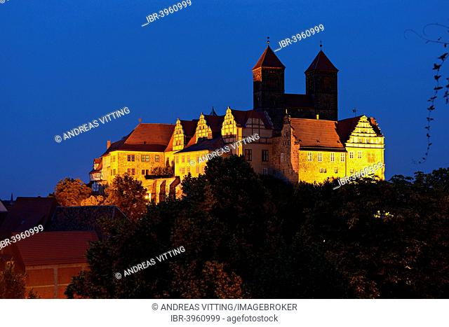 Quedlinburg castle hill at night, Quedlinburg, Saxony-Anhalt, Germany