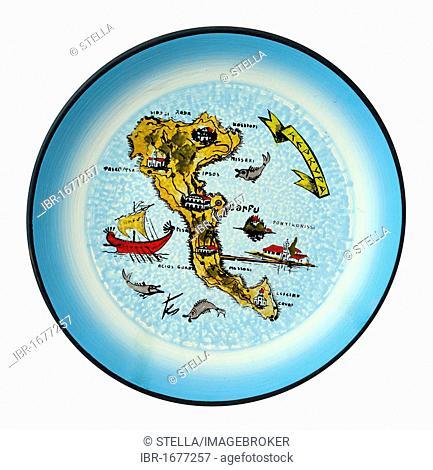 Corfu Island painted on a decorative wall plate