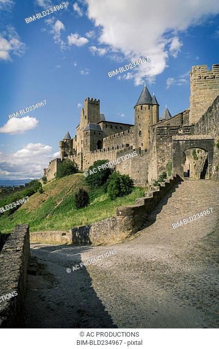 Road to castle in Carcassonne, Languedoc-Roussillon, France