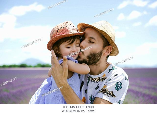 France, Provence, Valensole plateau, father kissing daughter in lavender fields in the summer