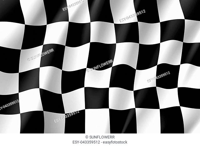 Flag auto racing, waving realistic banner. Symbol of start and finish of race cars on route. illustration of chess canvas