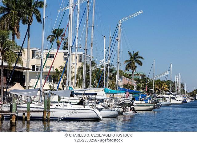 Ft. Lauderdale, Florida. Marina Inlet off E. Las Olas Boulevard