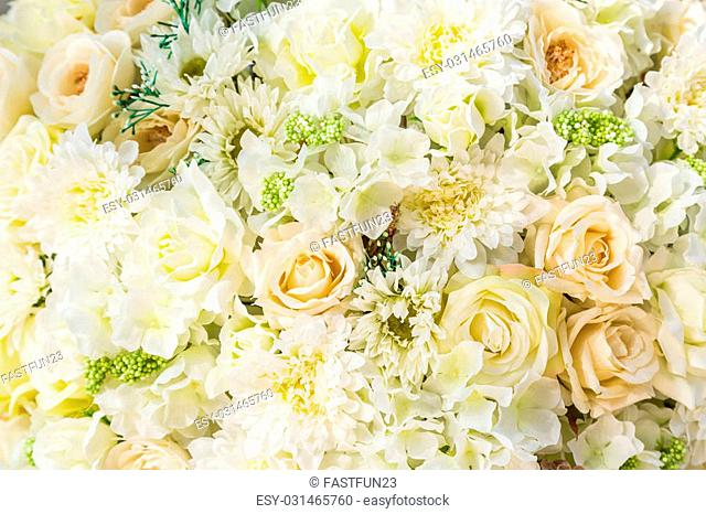 bouquet with white rose bush, as a background