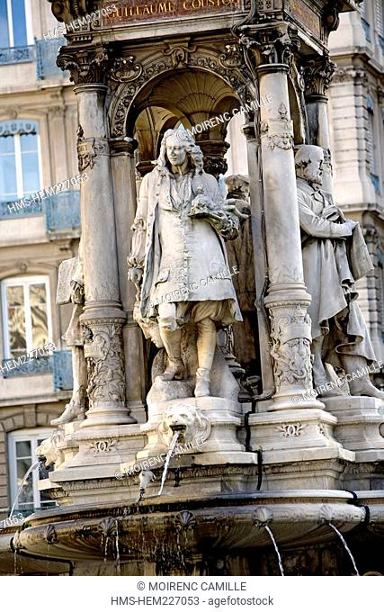 France, Rhone, Lyon, historical site listed as World Heritage by UNESCO, fountain in Place des Jacobins