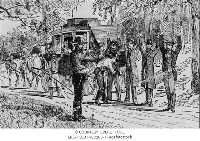 Jesse James and Bill Ryan robbing a stage coach of tourists on their way to Mammoth Cave on September 3, 1880. The picture accurately records the scene as...
