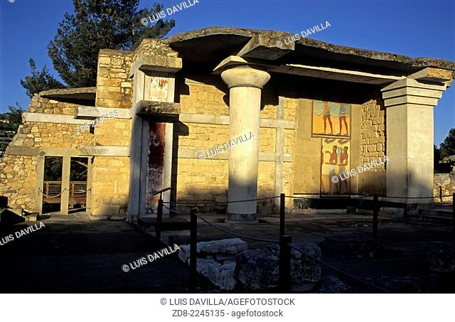 Knossos, Crete is the largest Bronze Age archaeological site on Crete, probably the ceremonial and political centre of the Minoan civilization and culture