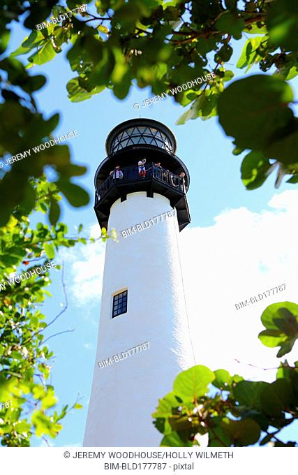 Low angle view of Bill Baggs Sate Park Lighthouse, Miami, Florida, United States