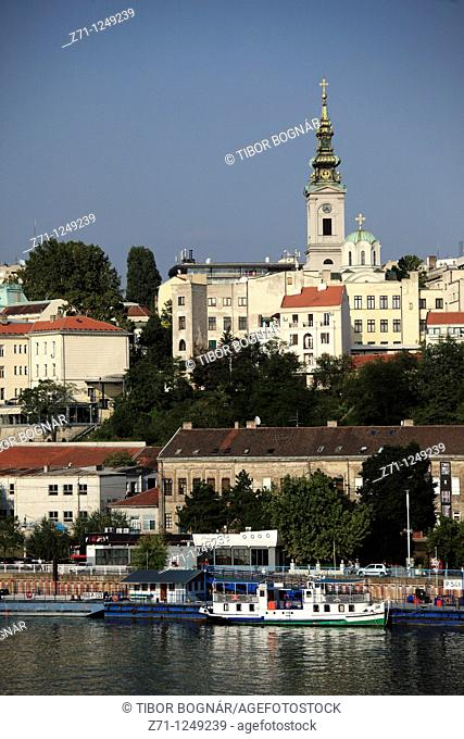 Serbia, Belgrade, skyline, general view, Sava river, boats, Orthodox Cathedral