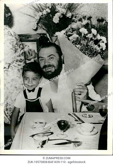 Aug. 08, 1957 - Ernest Borgnine on Holiday in Italy. The famous Italo American film star Ernest Borgnine, who won an 'Oscar' in 1955 for his role in the film...