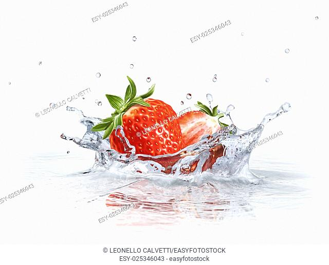 Strawberries falling into clear water, forming a crown splash. Viewed from a side, with white background