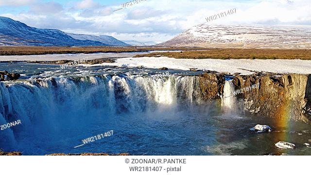 the waterfall Godafoss in Winter