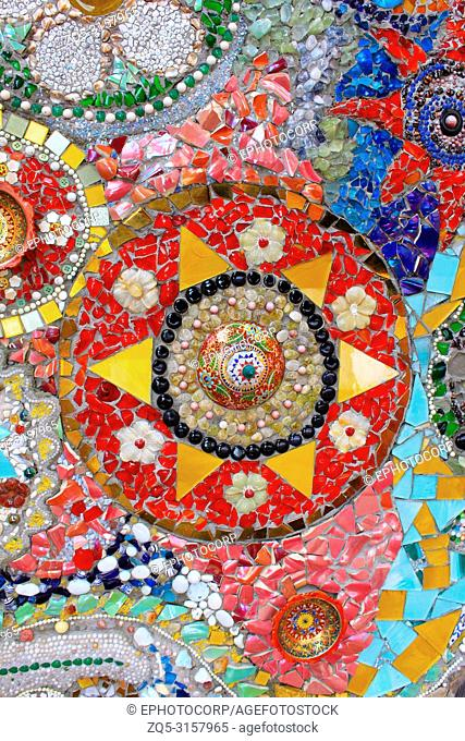 Lovely colorful mosaic designs with pottery shards, at Pha Sorn Kaew, in Khao Kor, Phetchabun, Thailand