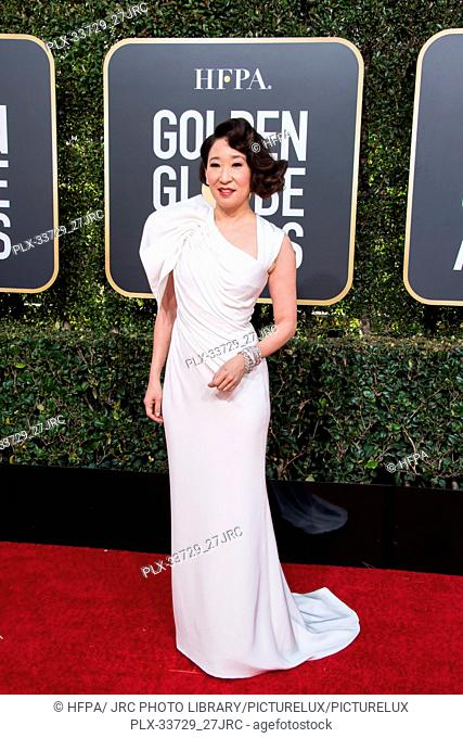 Host Sandra Oh attends the 76th Annual Golden Globe Awards at the Beverly Hilton in Beverly Hills, CA on Sunday, January 6, 2019