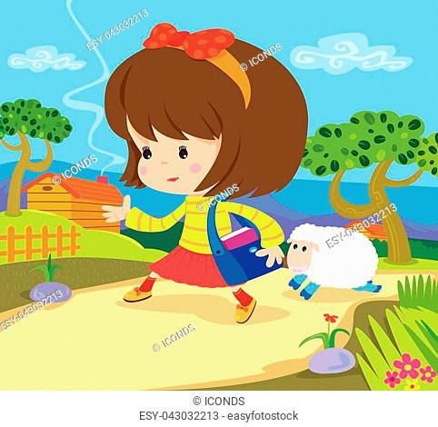 Vector illustration of the Famous NURSERY RHYME Mary had a little Lamb. Back Ground and main frame are in separate layers